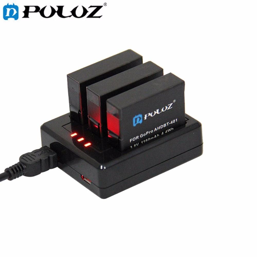 PULUZ Für Go Pro Zubehör 3-kanal Ladegerät für GoPro HERO4 HERO 4 (AHDBT-401)