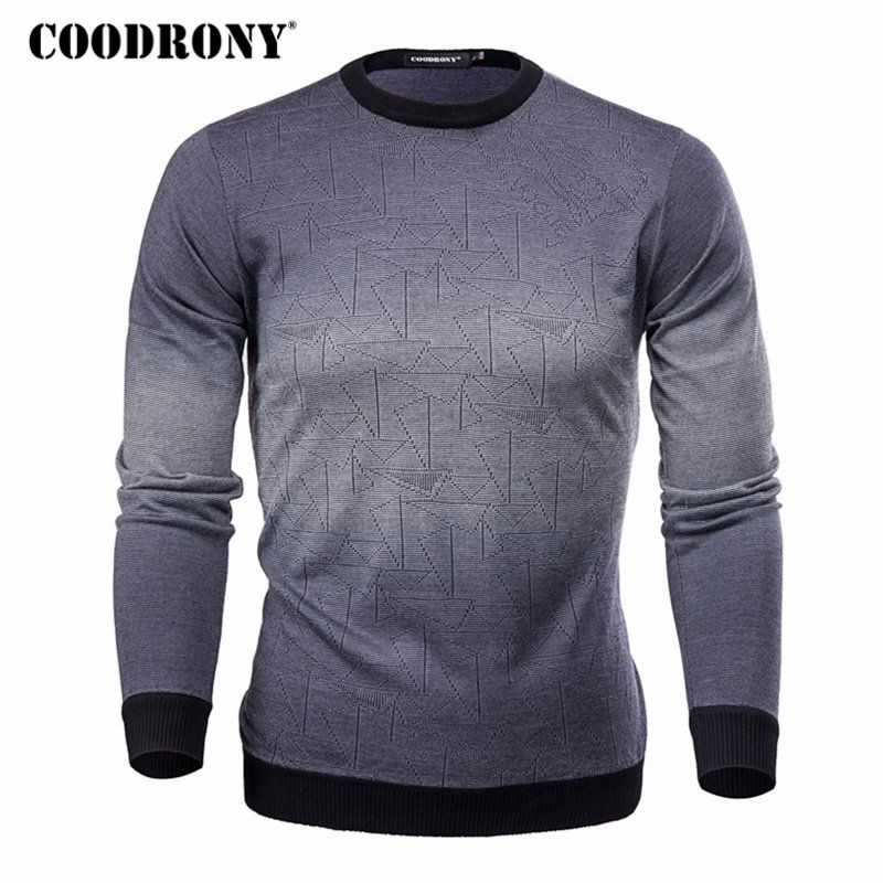 COODRONY Cashmere Sweater Men Brand Clothing Mens Sweaters Print Casual Shirt Autumn Wool Pullover Men O-Neck <font><b>Pull</b></font> Homme Top 613