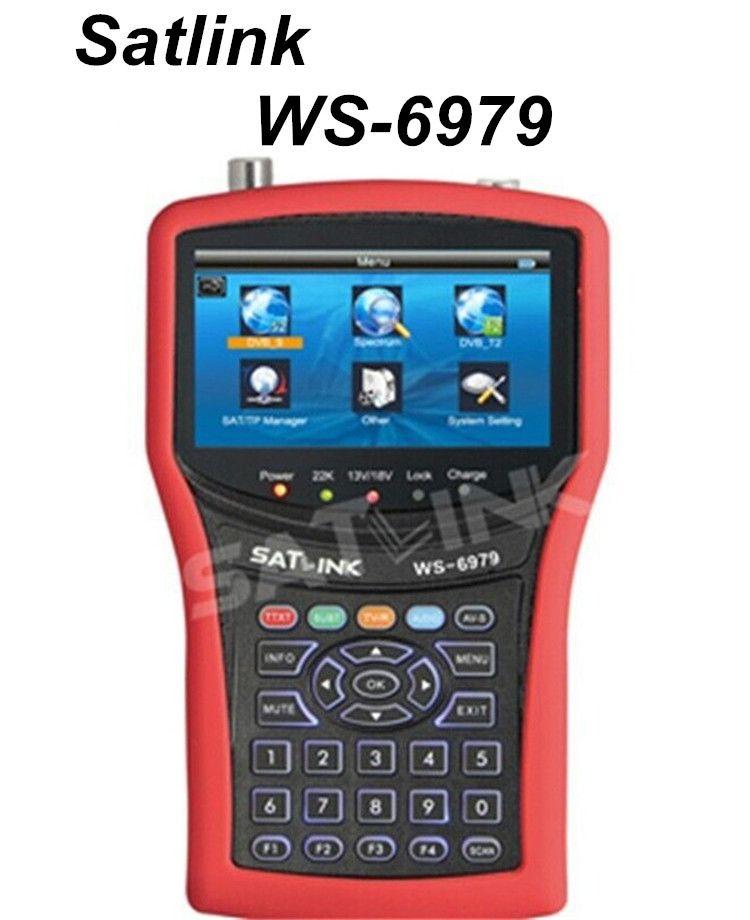 100% Original Satlink WS-6979 DVB-S2 & DVB-T2 MPEG4 HD COMBO + spectre Satellite mètre Finder 4.3 pouces TFT LCD écran