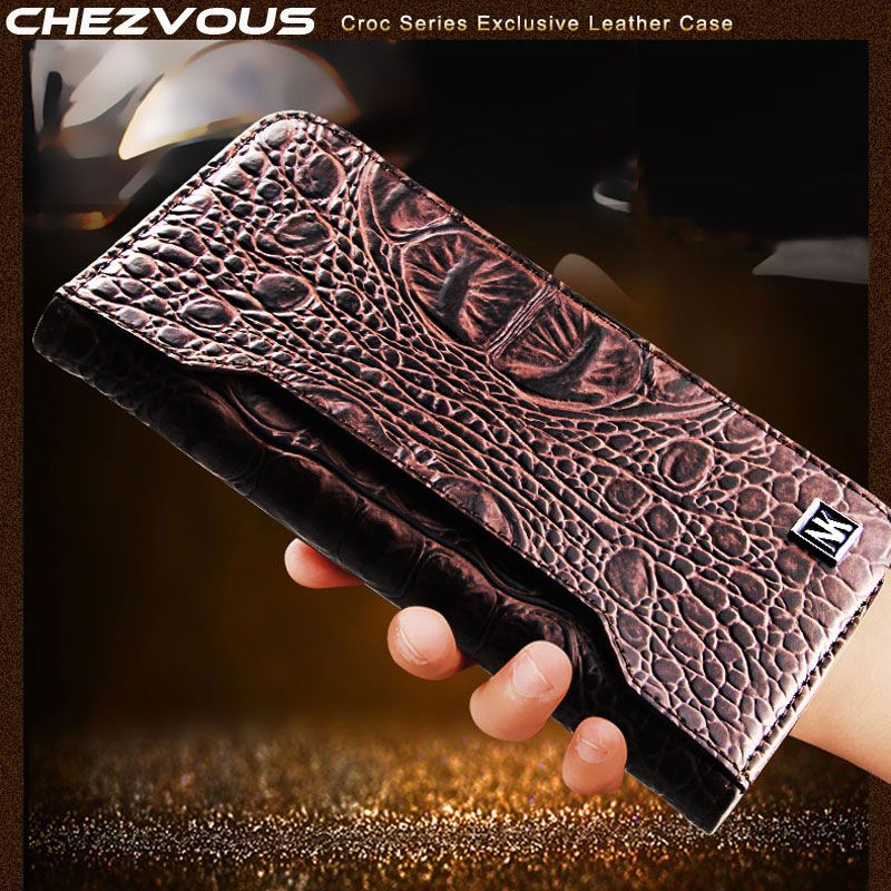 CHEZVOUS Case for iPhone X Genuine Cowhide Leather Crocodile Pattern Wallet Card Slot Bag Case for iPhoneX Luxury Flip Cover 5.8