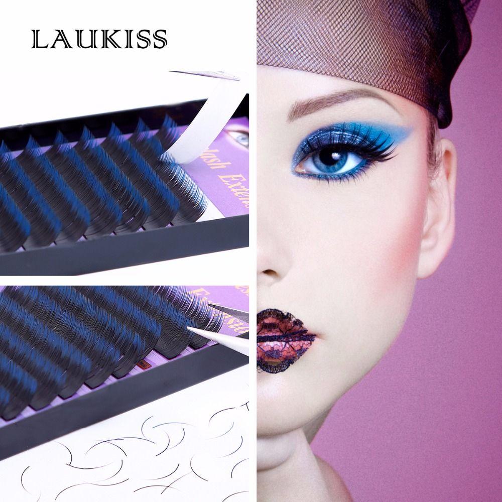 Cilios maquillaje de Color Azul y Negro C Rizo Natural Falsas Pestañas Extensión de la Pestaña de Color Individual LAUKISS Salon Uso Diario