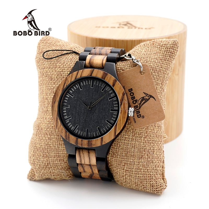 BOBO BIRD Men's Walnut and Ebony Wooden Watch with All Wood Strap Quartz Analog watch with Quality Miyota Movement clock gifts