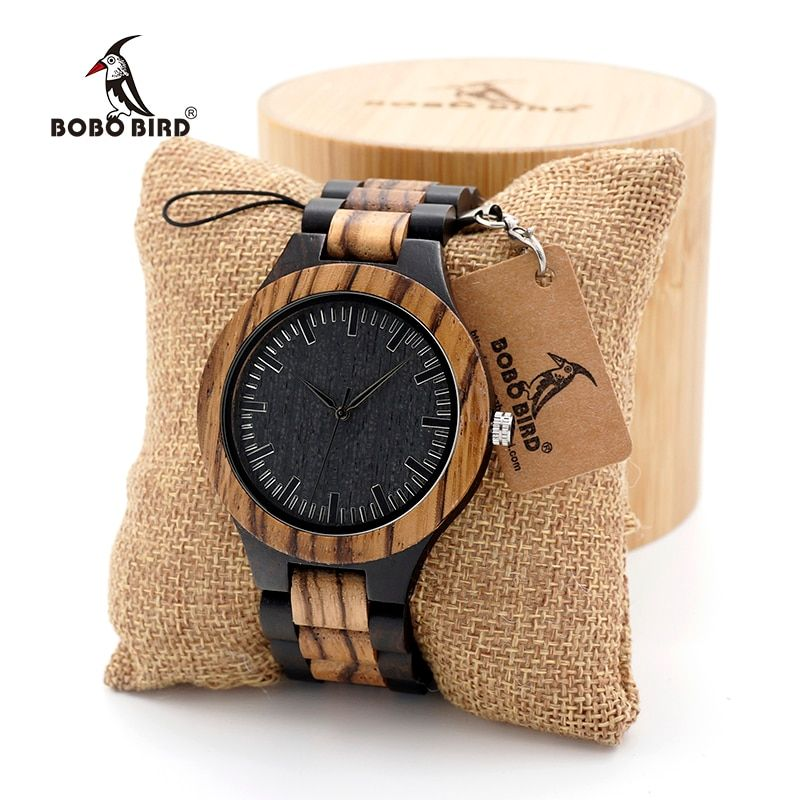 BOBO BIRD Wood Watch Men's Walnut Ebony Wooden Strap Quartz Analog Wristwatch Male erkek kol saati Miyota gift