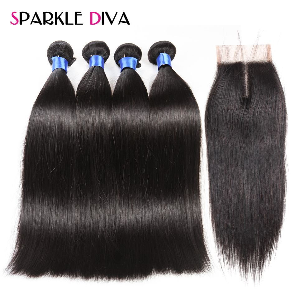 4 Bundles Straight Hair With Closure Peruvian Human Hair Bundles With Closure Natural Color Sparkle Diva Non-Remy Hair Weave