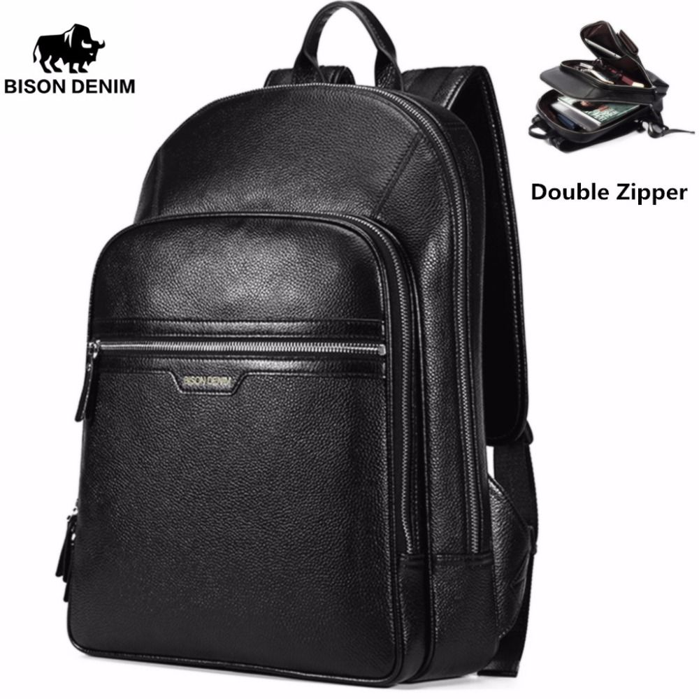 BISON DENIM Genuine Leather Laptop Backpack Male Kanken Backpack Travel Backpack Male Fashion Backpack Schoolbag For <font><b>Men</b></font> N2337