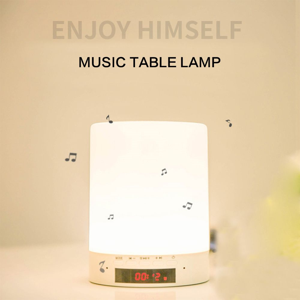 BORUiT Multifunction USB Rechargeable RGB LED Night Lights with Alarm Clock Music Player Speaker Box Dimmable Table Light Lamp