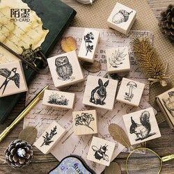Kelinci/Menelan/Tupai/Burung Hantu/Jamur/Lebah/Daun/Bunga Seal Stamp Kayu dan Karet segel Log Stempel Karet Dekoratif Susu Pesan