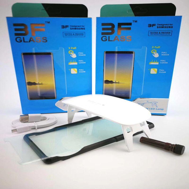 0.2mm UV Liquid Full Glue Tempered Glass Screen Protector For Samsung Galaxy S9 S9 Plus Note 9 2PCS Glass+2PCS Glue+1 Big Light