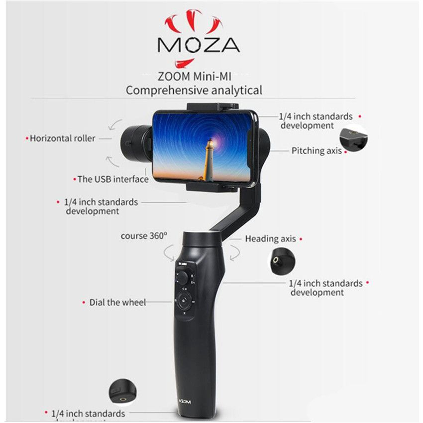 MOZA MINI MI 3-Axis Handheld Smartphone Gimbal Stabilizer for iPhone X 8Plus 8 7 6S Samsung S9 S8 S7 VS Zhiyun Smooth Q 4 Vimble