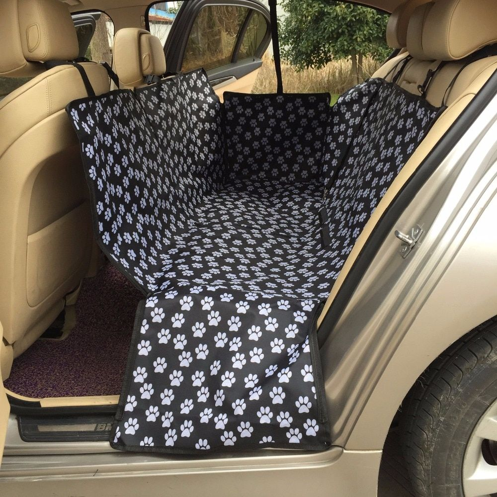 Pet carriers Oxford Fabric Paw pattern Car Pet Seat Covers <font><b>Waterproof</b></font> Back Bench Seat Travel Accessories Car Seat Covers Mat