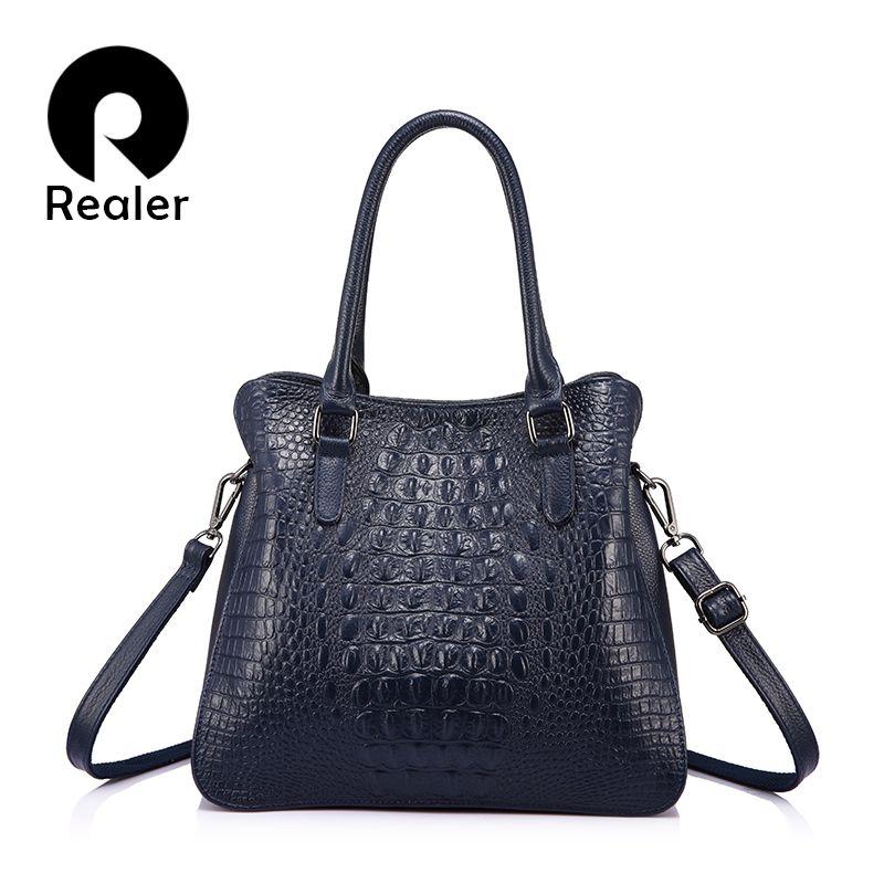 REALER luxus handtaschen frauen aus echtem leder crossbody messenger bags weibliche tote hochwertigen crocodile print damen top-griff
