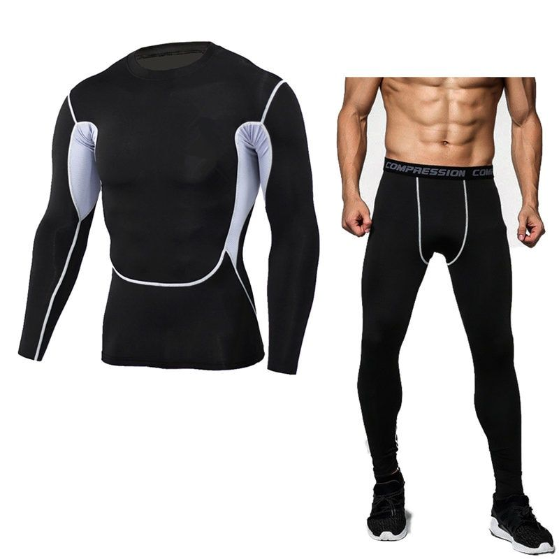 Brand Camouflage Compression Shirt Clothing Long Sleeve T Shirt + Leggings Fitness Tops Quick Dry Crossfit Fashion Suits S-3XL