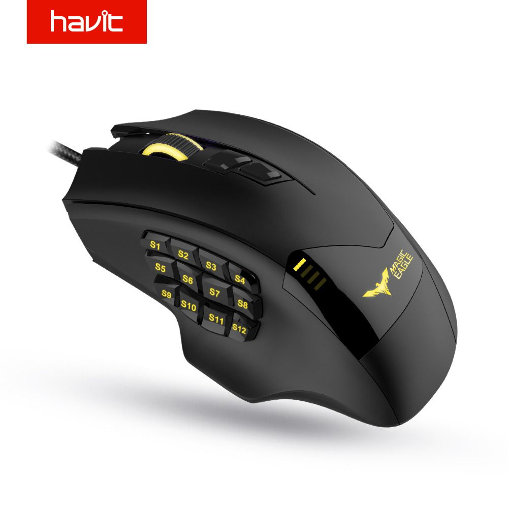 HAVIT 12000 DPI 19 Buttons Programmable Mouse Optical Sensor Pixart PMW 3360 Optical MMO Gaming Mouse HV-MS735