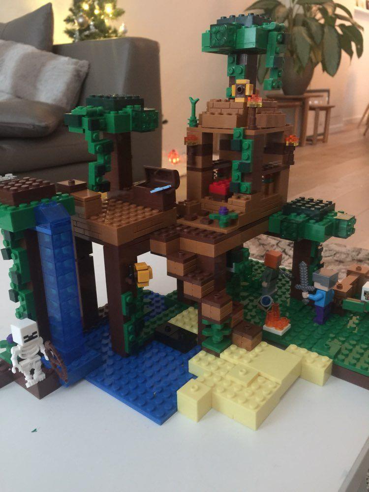Modèle kits de construction compatible avec lego mon mondes Minecraft La Jungle Arbre Maison modèle de construction jouets loisirs pour enfants