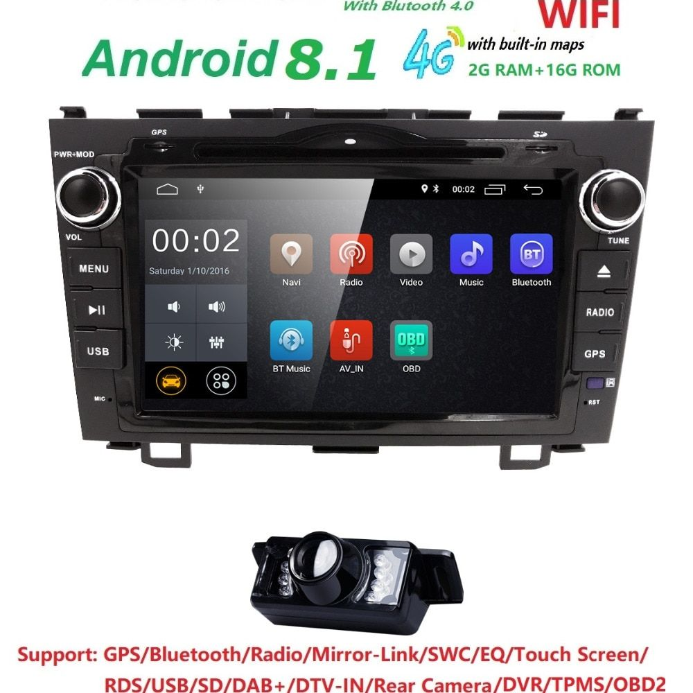Android 8.1 HD 1024*600 Auto DVD Player Radio Für Honda CRV 2007 2008 2009 2010 2011 4G WIFI GPS Navigation Kopf Einheit 2 din 2 GRAMM