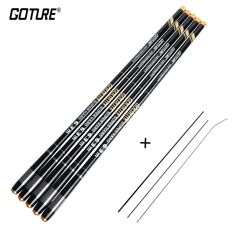 Goture GOLDLITE Fishing Rod 3.6/4.5/5.4/6.3/7.2M Stream Hand Rod Carbon Fiber Super Hard Telescopic Pole Rod Crap Fishing
