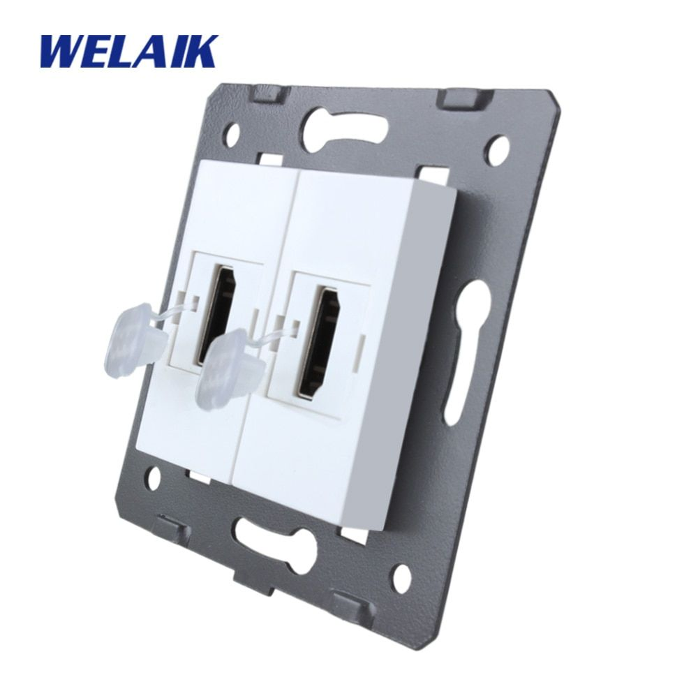 WELAIK Brand Manufacturer EU Standard 2HDMI Socket DIY Parts Wall HDMI Socket parts Without Glass Panel White A82HDW