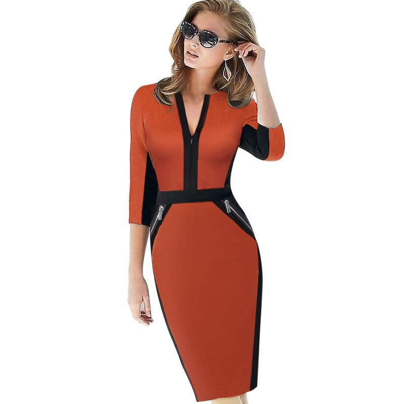 Plus Size <font><b>Front</b></font> Zipper Women Work Wear Elegant Stretch Dress Charming Bodycon Pencil Midi Spring Business Casual Dresses 837