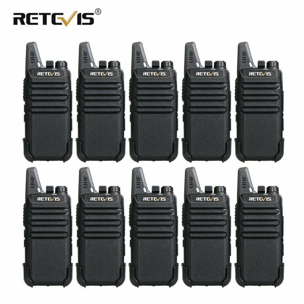 10 pcs Retevis RT22 Mini Walkie Talkie 2W VOX USB Charge Portable Two Way Radio Station Hotel/Restaurant Communication Equipment