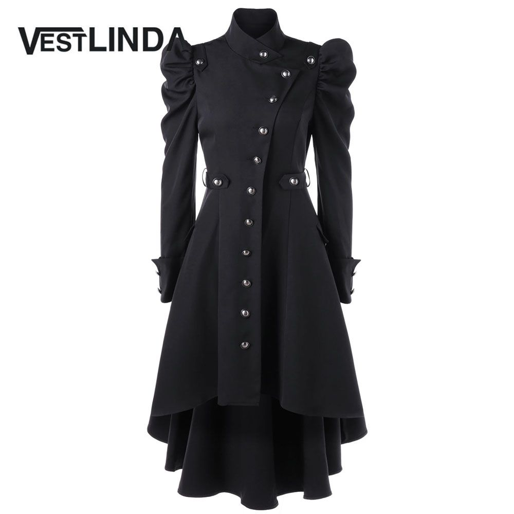 VESTLINDA Puff Shoulder Button Up Dip Hem Trench Coat For Women New Fashion Stand-Up Collar High Waist Outerwear Winter Coats