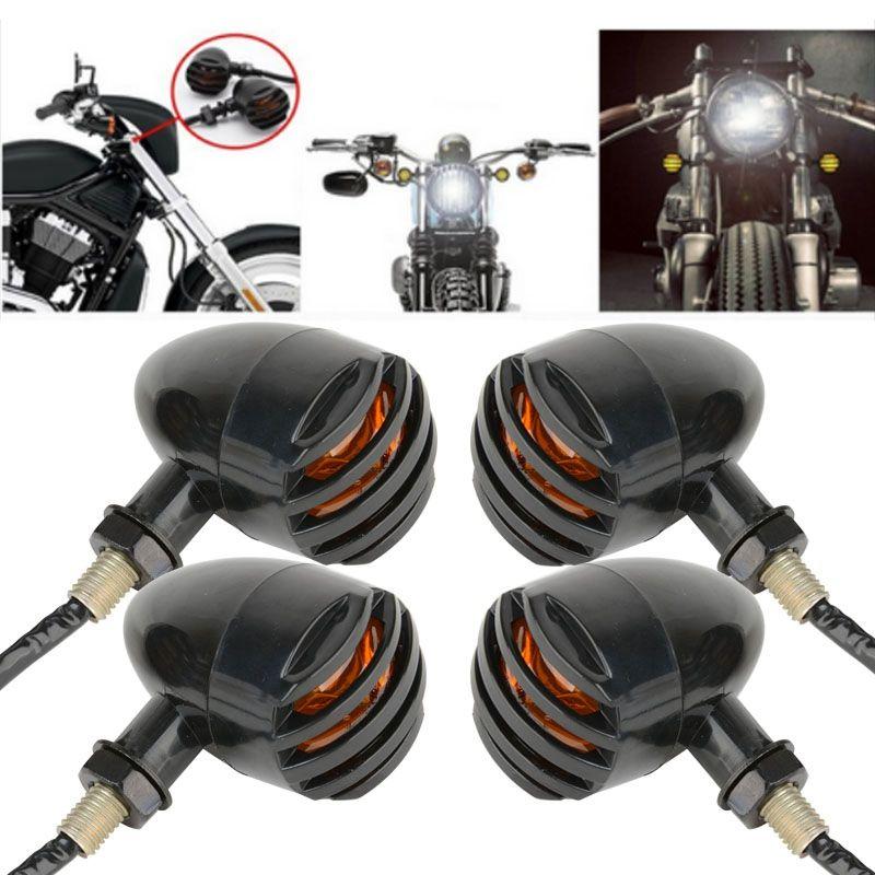 4 шт. мотоциклетные Ретро черный гриль пуля Янтарный лампы мотоциклов LED поворотов Световой индикатор для Harley Honda Suzuki Kawasaki