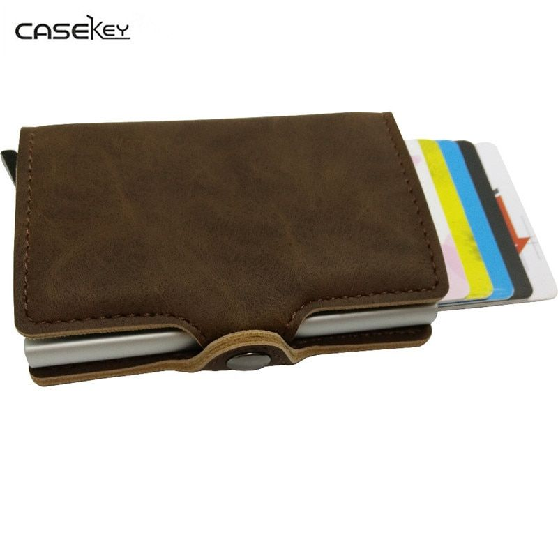 Casekey модная металлическая ID держатель кредитной карты черный карманный Box Визитные карточки бумажник с RFID кошелек Для мужчин 8 позиция карта...