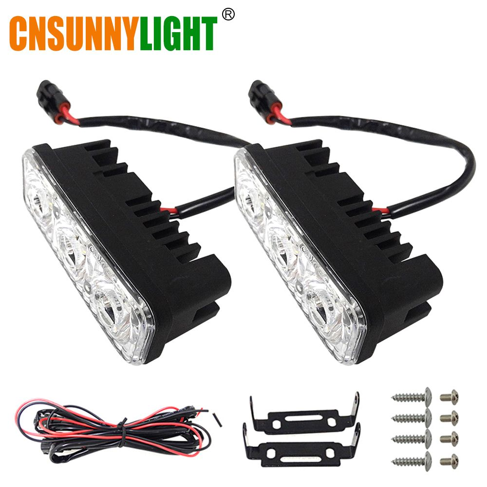 CNSUNNYLIGHT Waterproof Car High Power Aluminum LED Daytime <font><b>Running</b></font> Lights with Lens DC 12V Super White 6000K DRL Fog Lamps