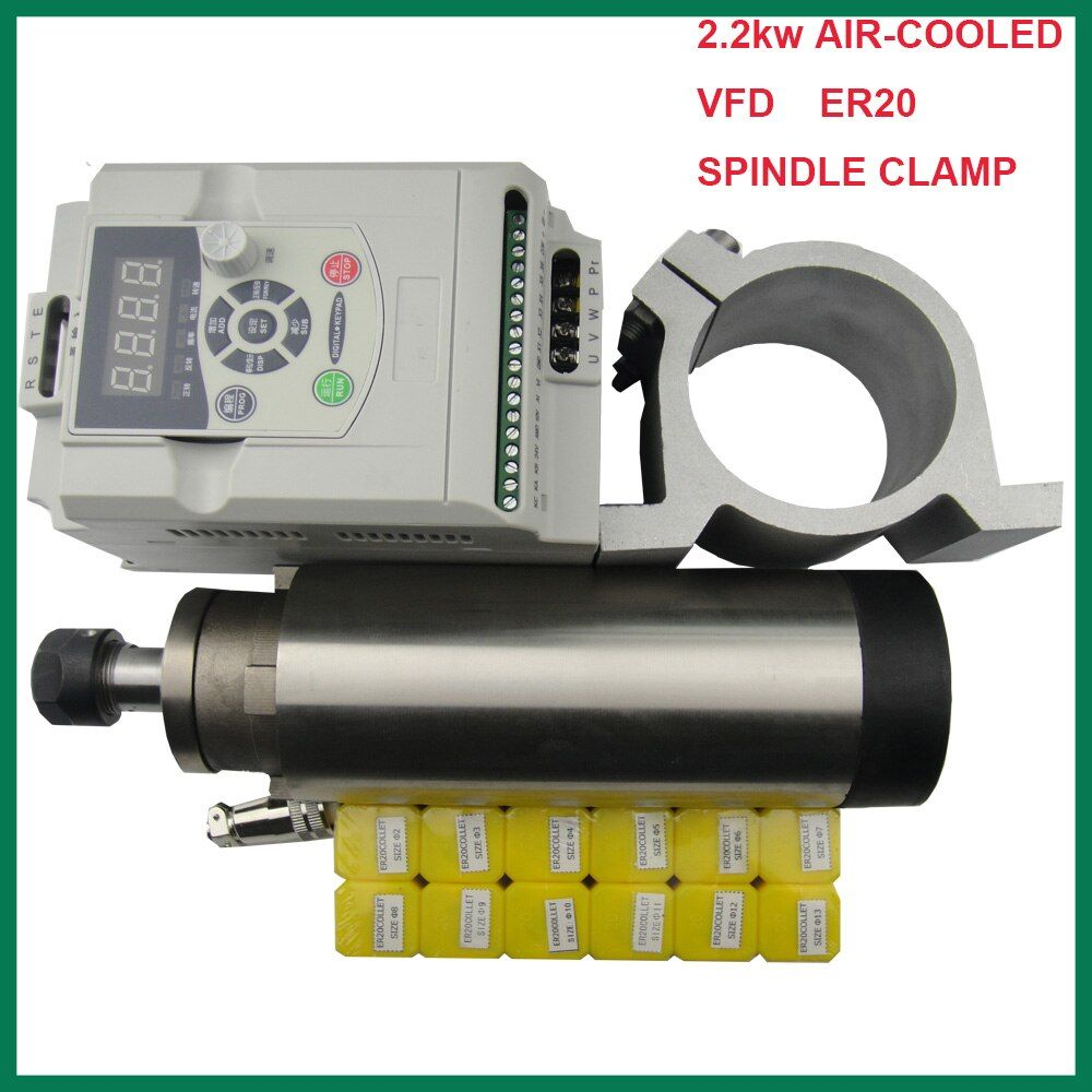 CNC spindle kit ER 20 2.2KW air cooling spindle motor 4 bearing+2.2KW VFD inverter+spindle clamp 80mm+12 pieces ER20 collets