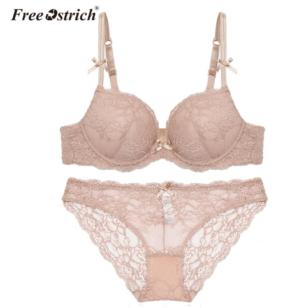 Free Ostrich 2018 Women Sexy Lace Underwear Lingerie Women Push Up Bra Set A B C D Cup Plus Size Drop Shipping F35