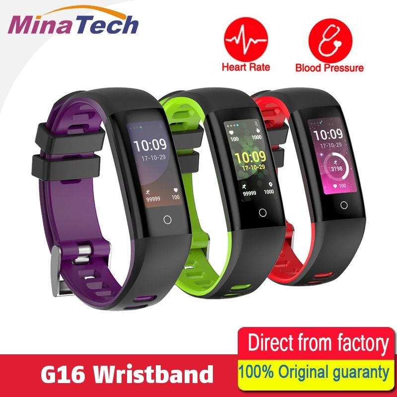 G16 TFT0.96 inch Color Screen Heart Rate Blood Pressure Monitor Smart Bracelet Pedometer Sports Fitness Bracelet for IOS/Android
