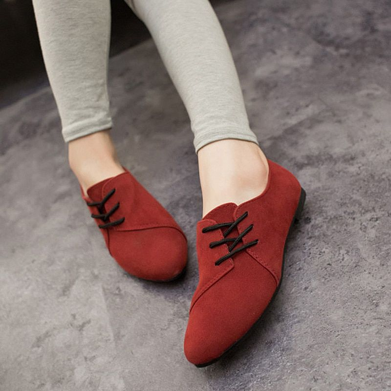 Lotus Jolly Ballet Flats Faux Leather Women Casual Shoes Tie Vintage British Oxford Low Pointed Toe Spring Autumn Zapatos Mujer