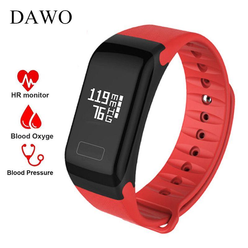 DAWO Smart Fitness Bracelet Activity Tracker F1 Heart Rate Blood Pressure Oxygen IP67 Waterproof Women Sport Watch PK miband 2