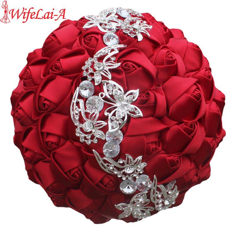 WifeLai-A 1 pc vin rouge soie Rose papillon diamants broche Mariage Bouquet Mariage Mariage fleur point Mariage Bouquet W2216