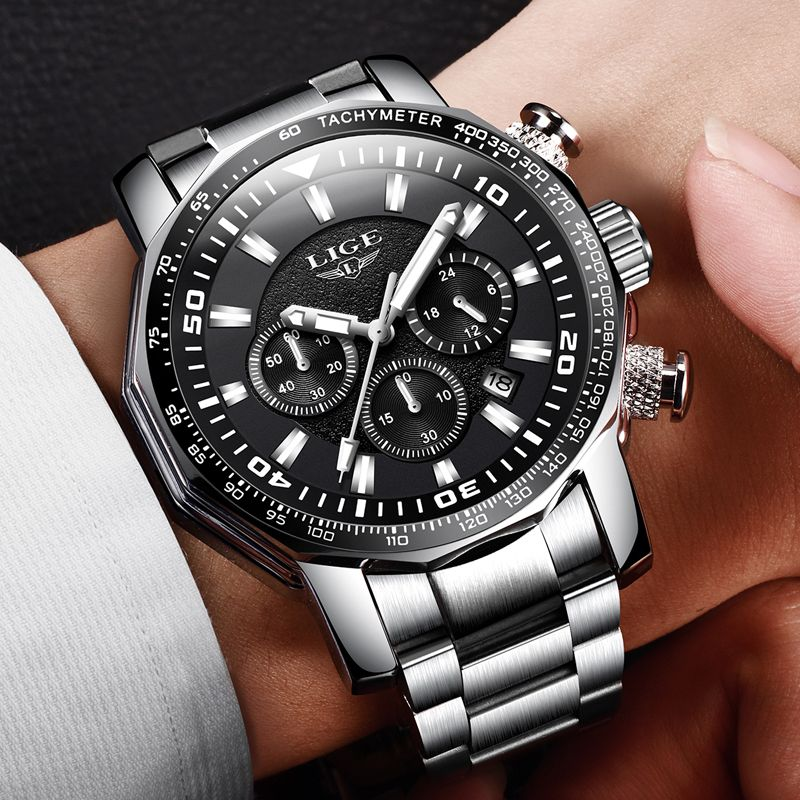 2018 LIGE Mens Watches Top Brand Luxury Fashion Quartz Clock Men's Full Steel Waterproof Sport Military Watch Relogio Masculino