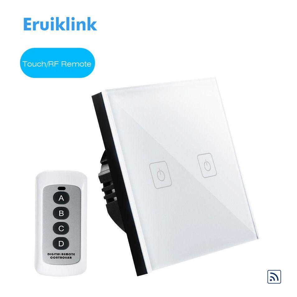 Norme EU/UK Eruiklink interrupteur tactile 1 Gang/2 Gang/3 Gang 1 voie, panneau en verre cristal, interrupteur d'éclairage mural RF433 pour maison intelligente