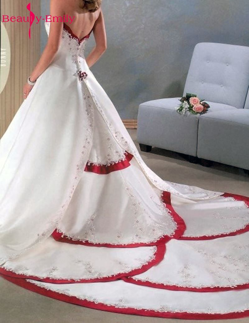 2018 Wine Red and White Wedding Dresses Sweetheart Satin Ball Gown Wedding Gowns Bride Dress vestidos de novia robe de mariee