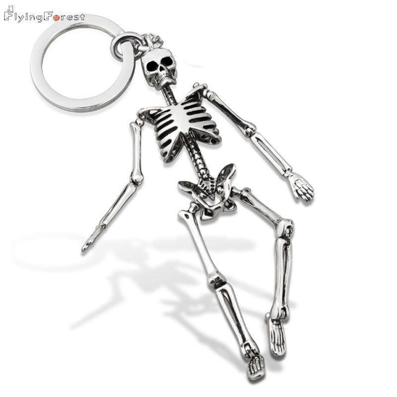 Porte-clés pour hommes personnalisé crâne porte-clés pour Couples mode pliable squelette porte-clés porte-clés breloque pour sac cadeaux