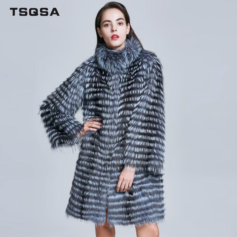 TSQSA Women Real Silver Fox Fur Coat Natural Fur Winter Fashion Striped Overcoat Female Warm Outerwear Ladies Clothes TAC1713