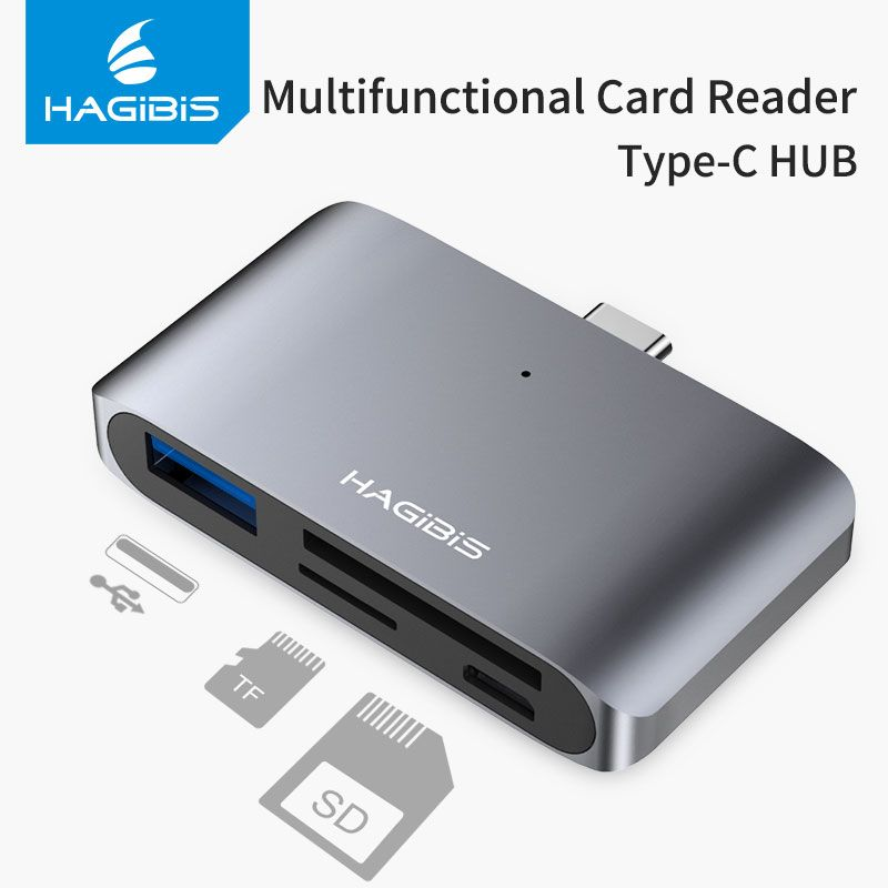 Hagibis Type-C Card Reader USB-C To USB 3.0 SD/Micro SD/TF OTG Card Adapter For Laptop/USB-C Phone TypeC Multifunction Converter