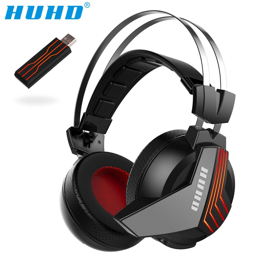 High-tech Wireless 7.1 Surround Sound USB Stereo Gaming Headset Over Ear Noise Isolating LED Monitor Headphones for PC Gamer