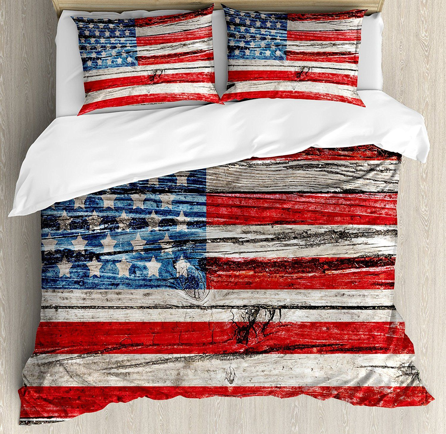 Rustic American USA Flag Duvet Cover Set Queen Size Fourth of July Independence Day Painted Wooden panel Wall
