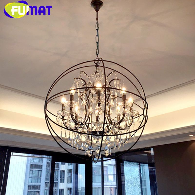 American Vintage Round Iron Crystal Lighting Fixtures Dinning Room Globe Pendant Lamp Loft Industrial Retro Bar Pendant Light