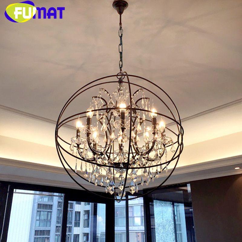 American Vintage Round Iron Crystal Lighting Fixtures Dinning Room Globe Pendant Lamp Loft Industrial Retro Bar Pendant Light