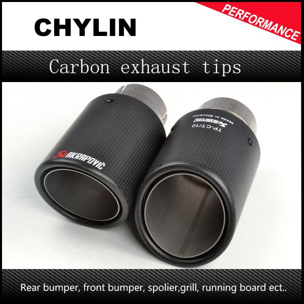 car styling Inlet 51mm to <font><b>Outlet</b></font> 89mm Akrapovic Carbon Exhaust Tip, Escape Akrapovic Muffler Tip