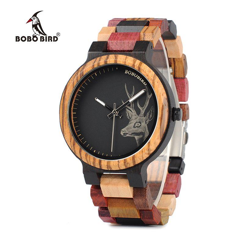 BOBO BIRD WP14-2 Wooden Watch for Men Women Colorful Wood Band Elk Deer Head Quartz Watches Luxury Unisex Gift