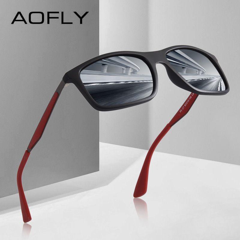 AOFLY BRAND DESIGN Classic Polarized Sunglasses <font><b>Men</b></font> TR90 Square Frame Sun Glasses Male Driving Goggles UV400 Eyewear AF8082