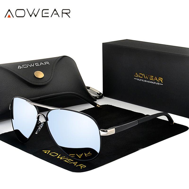 AOWEAR hommes Aviation lunettes de soleil hommes polarisées miroir lunettes de soleil pour homme HD conduite Polaroid lunettes de soleil lunettes de soleil homme