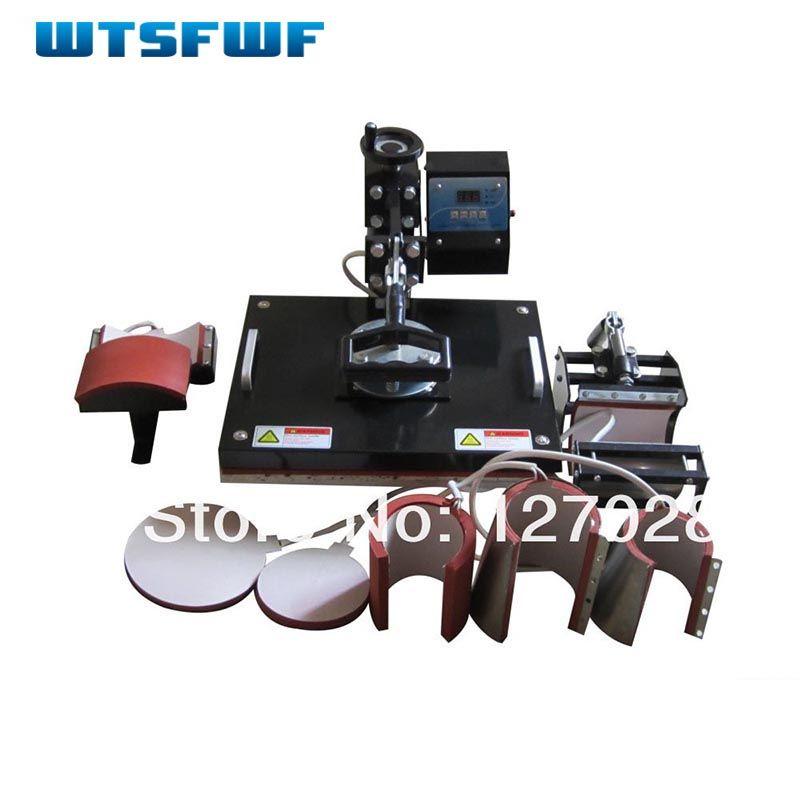 Wtsfwf 30*38 CM 8 en 1 Combo Presse de La Chaleur Imprimante Machine 2D Imprimante à Transfert Thermique pour Cap Tasse plaque T-shirts Impression