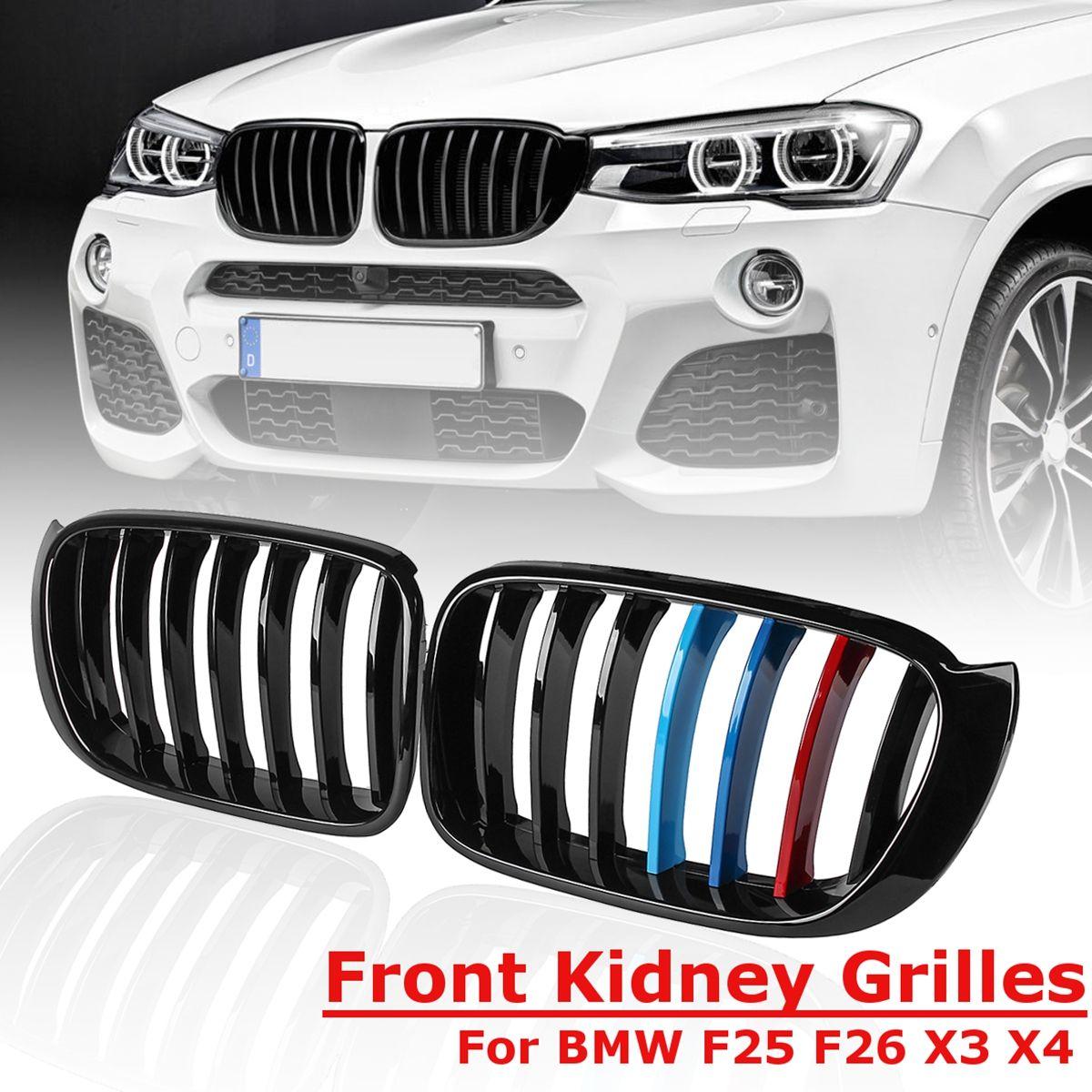 1 para 3 Farben für BMW X3 F25 F26 2014 2015 2016 2017 für Front Stoßstange Sport Niere Grill Grille glanz Schwarz Ersatz Racing