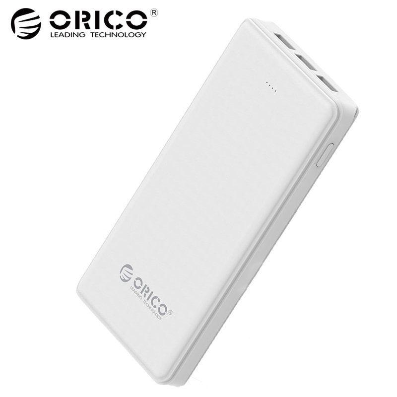 ORICO 20000mAh 3 USB Power Bank 5V/2A*2+5V1A*1 External Battery Mobile Backup Bank Charger with Flashlight Universal White